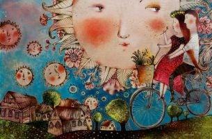 Man en Vrouw Die Samen Op Een Fiets Rijden Door Een Wereld Waarin Ze In Vrede Samenleven