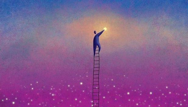 Een Man Die Met Een Hele Lange Ladder Een Ster Kan Aanraken Want Dromen Kunnen Uitkomen