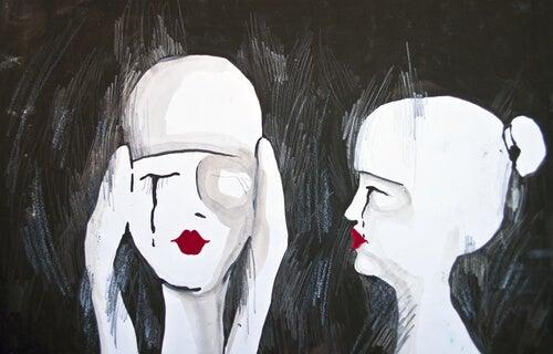 Twee Droevige Meisje Die Bij Zichzelf Denken Overwin Een Relatiebreuk Door Je Mentaliteit Te Veranderen