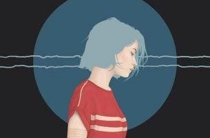 Droevig Meisje Met Een Blauwe Cirkel Achter Haar Hoofd