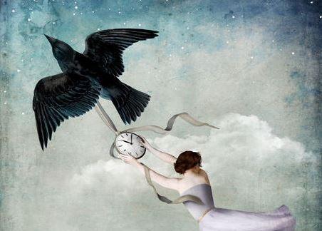 Vrouw Houdt Vast Aan De Tijd En Ontkent De Vergankelijkheid Van Het Leven
