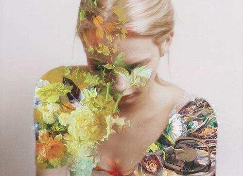 Vrouw Die Beschilderd Is Met Bloemen En Dit Is Net Magie