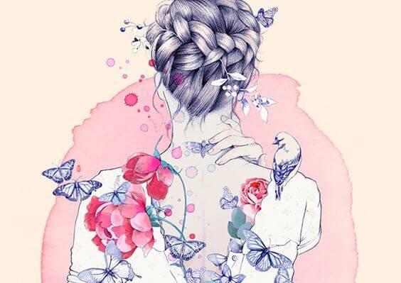 Vrouw Met Bloemen En Vogels Op Haar Rug Die Zegt Jouw Streling Geeft Mijn Ziel Nieuwe Energie