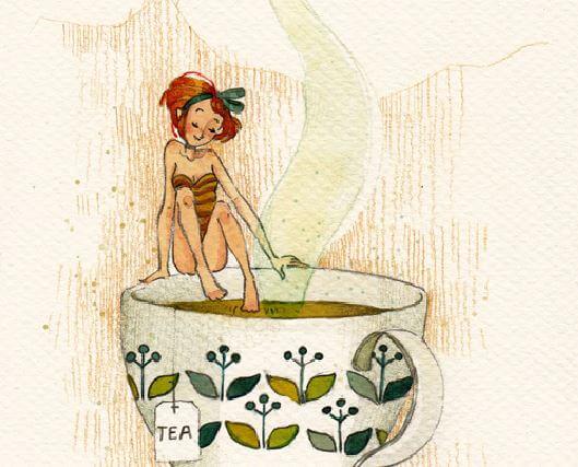 Elfje dat haar teen steekt in een hete kop thee wat me laat voelen dat we soms risico's moeten nemen