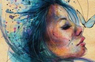 Meisje Met Een Blauwe Vlinder Op Haar Neus Dat Zich Niet Laat Raken Door De Dieven Van Onze Energie