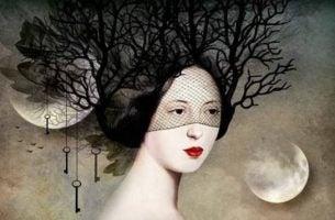 Surrealistische Afbeelding Van Vrouw Met Boomtakken Als Haar Want Onze Verbeeldingskracht Is Zeer Sterk En Kan Negatieve Emoties Verslaan