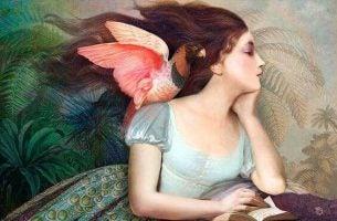 Vrouw Met Een Papegaai Op Haar Schouder Die Eigenliefde Beoefent