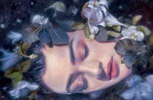 Vrouw Die Tussen De Bloemen Ligt Te Slapen Want Over Haar Innerlijke Rust Valt Niet Te Onderhandelen