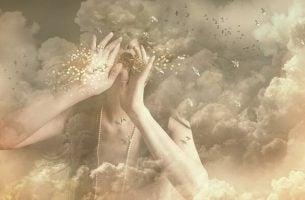 Vrouwen Die Vanuit De Wolken Goud Stof Blaast