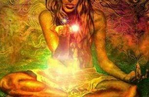 Vrouw In De Lotushouding Die Een Licht In Zich Draagt Dat Zegt Je Kunt Je Dromen Waarmaken