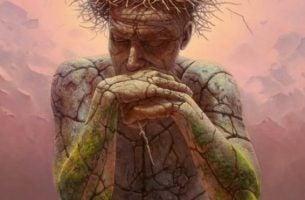 Man gemaakt van steen die zijn hoofd op zijn handen rust en nadenkt over zelfliefde volgens Aristoteles