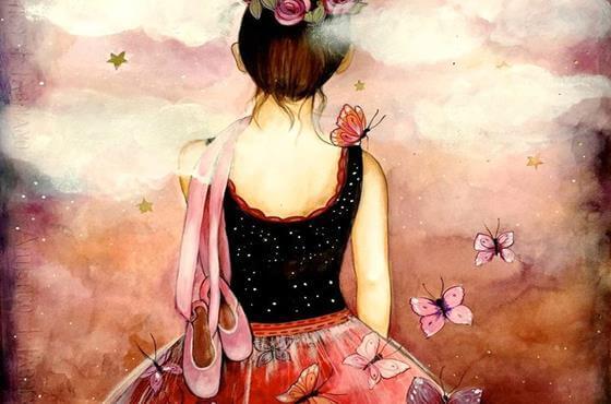 Ballerina Met Vlinders Om Haar Heen Die Voor Zich Uit Kijkt En Nadenkt Over Herinneringen Die Haar Ziel Ontroeren