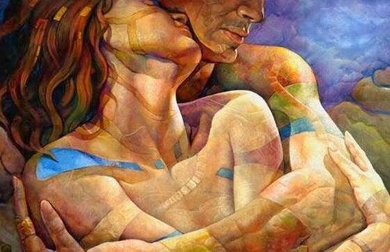 Vrouw en man die elkaar liefdevol omhelzen als voorbeeld van oprechte liefde