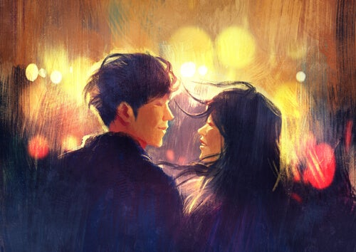 Twee zielen die elkaar liefdevol aankijken als voorbeeld van ware intimiteit