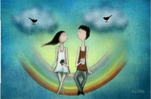 Twee mensen die samen op een regenboog zitten maar hoe kun je je vrijheid behouden in een relatie