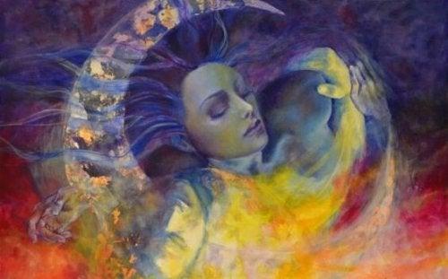 Vrouw en een man die in elkaar overgaan als symbool voor volwassen liefde