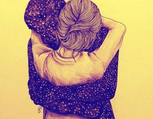 Vrouw die een man knuffelt