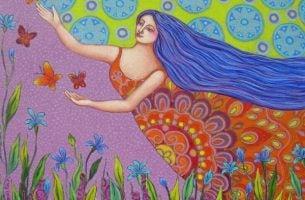 Kleurrijke Vrouw Omringd Door Vlinders En Bloemen, Ze Is Iemand Die Weet Hoe Je Moet Vliegen