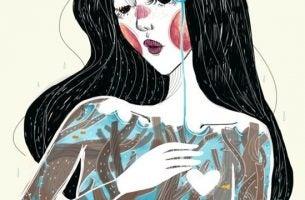 Tekening van een vrouw met zwart haar en rode wangen die een gezond zelfvertrouwen heeft