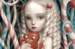 Meisje met blond haar dat een taai taai pop vasthoudt als voorbeeld van giftige kinderen