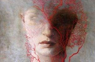 Het Hoofd Van Een Vrouw Waarom Allemaal Aderen Overheen Zijn Getekend Die Symbool Staat Voor De Pijn Die Emotionele Mishandeling Haar Heeft Aangedaan
