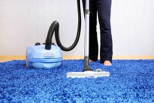 Vrouw die staat te stofzuigen als vorm van huishoudelijk werk