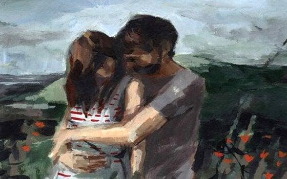Schilderij van twee mensen die elkaar omhelzen want liefde is samen willen zijn
