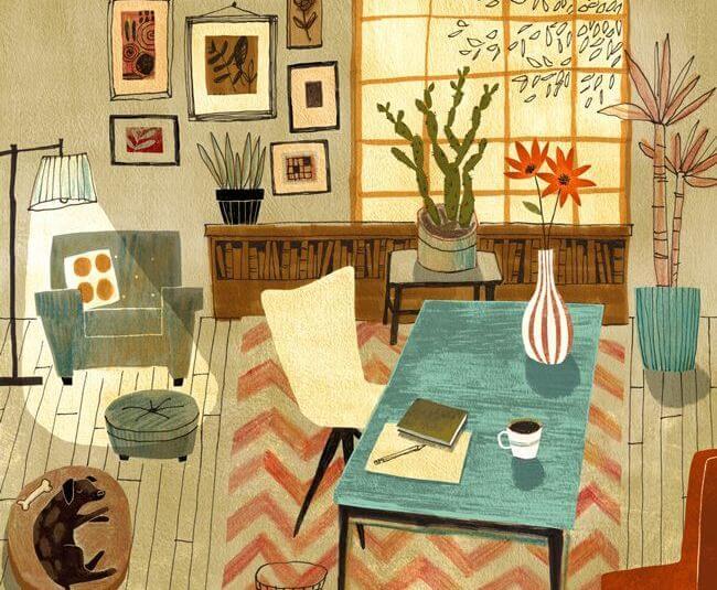 Kleurrijk Interieur Dat Een Rustgevend Gevoel Opwekt Als Voorbeeld Van De Relatie Tussen Kleur En Gevoel