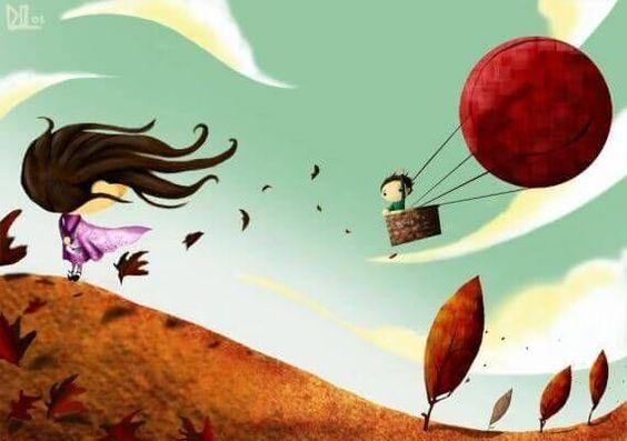 Jongetje in een luchtballon dat afscheid neemt van een meisje die nog op de grond staat en beide nemen ze hun emotionele bagage met zich mee
