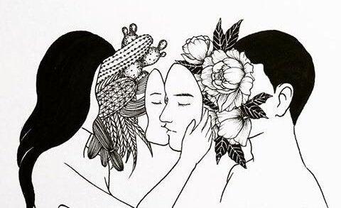 Een vrouw met haar gezicht in haar handen en cactussen als gezicht en een man met bloemen als gezicht