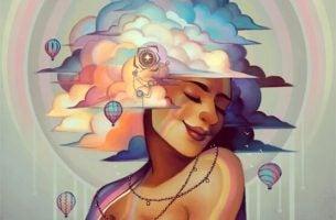 Vrouw die glimlacht met haar hoofd in de kleurrijke wolken en luchtballonnen om zich heen want ze heeft geleerd om te leven met humor