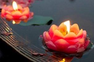 Kaarsen In De Vorm Van Een Lotusbloem Die Op Het Water Drijven Waarmee We Zeggen: Laat Alles Vloeien
