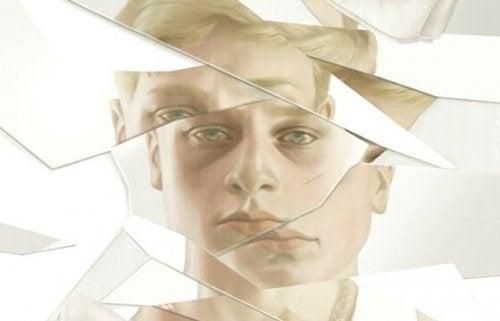 Man wiens gezicht verdeeld is door glasscherven omdat hij last heeft van prikkelbare mansyndroom