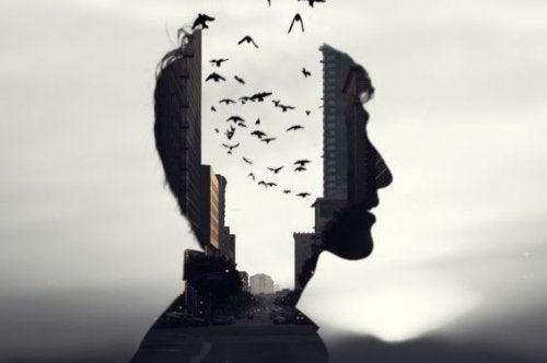 Man wiens hoofd door tweeën is gedeeld en in de opening vliegen allemaal vogels