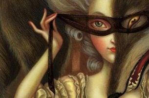 Meisje dat een masker voor haar gezicht houdt als symbool voor het vertellen van halve waarheden