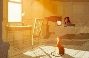 Meisje Geniet In Haar Zonnige Kamer Als Voorbeeld Van Relatie Tussen Kleur En Gevoel
