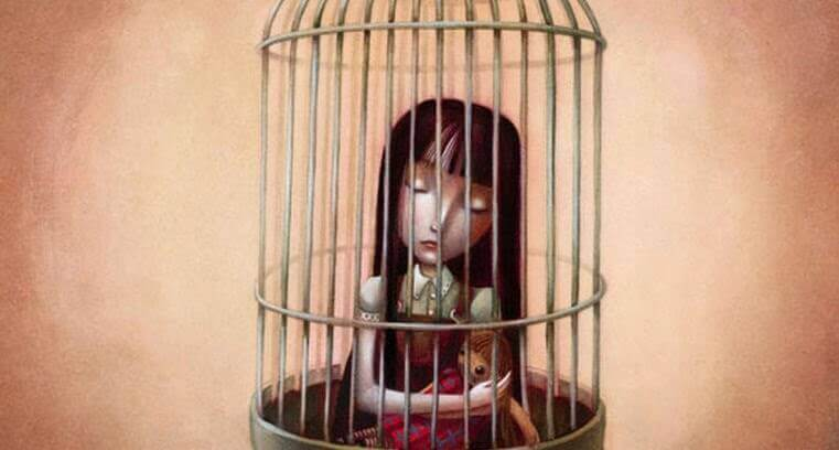 Meisje Dat Opgesloten Zit In Een Vogel Kooi Omdat Emotionele Mishandeling Haar Gevangen Houdt
