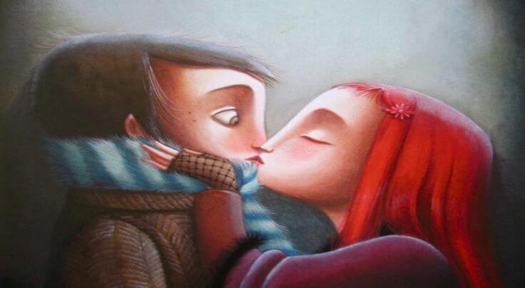 Meisje Kust Jongen En Neemt Het Risico Om Te Maken Te Krijgen Met Onbeantwoorde Liefde
