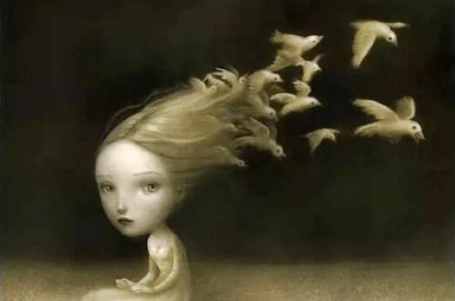Meisje met blond haar dat aan het einde verandert in witte duiven