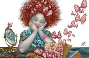 Meisje Dat Aan Een Tafel Zit Na Te Denken En Zo Allerlei Herinneringen Naar Boven Haalt Die Haar Ziel Ontroeren