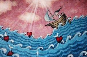 Meisje Vaart Over De Zee Der Liefde En Geeft De Liefde Een Tweede Kans