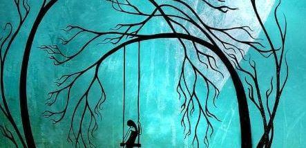 Meisje Zit Verdrietig Op Schommel In Donker Bos