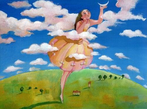 Reuzemeisje raakt de maan aan in het thema bevrijd jezelf van stress