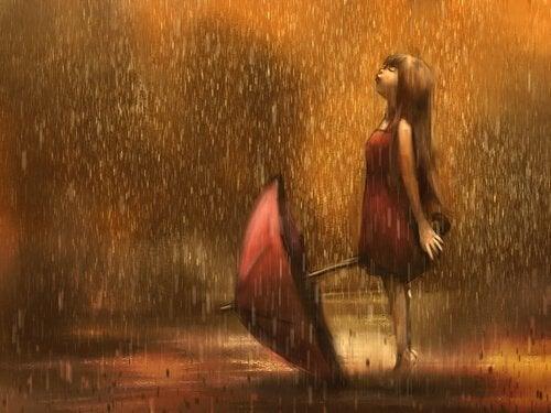 Meisje Dat Zonder Paraplu In De Regen Staat