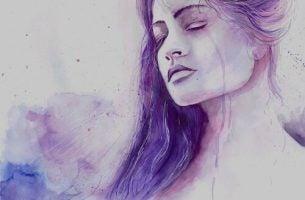 Bedroefde vrouw wiens serotonineniveau te laag is