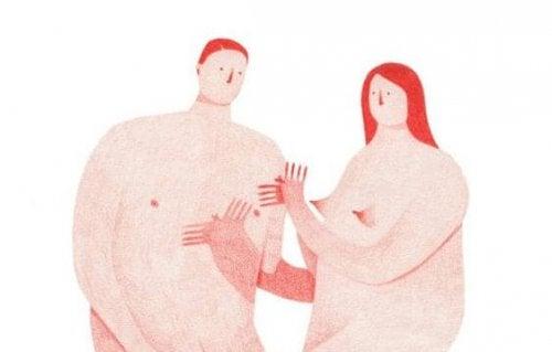 Twee naakte mensen met een zeer groot lichaam en een klein hoofdje die de redenen achter de meeste relatiebreuken niet kennen