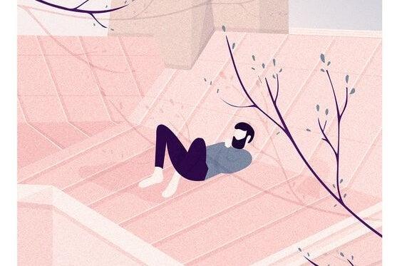 Man die op het dak van zijn huis nadenkt of hij meer zelfkennis nodig heeft