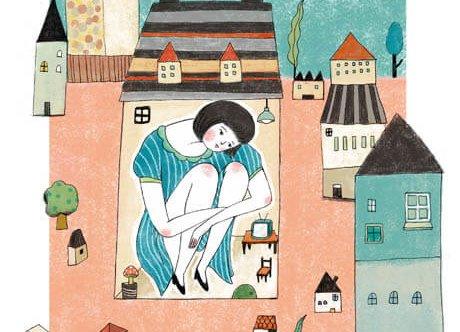 Vrouw die vastzit in een zeer klein huisje