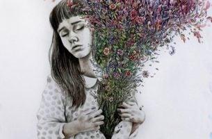 Meisje dat haar blouse opentrekt en vervolgens komen er allemaal bloemen uit geschoten