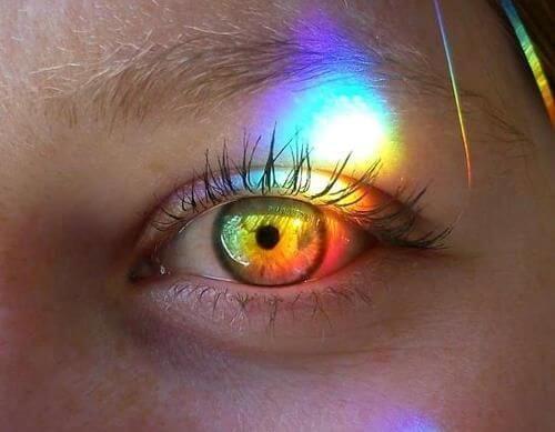 De Ogen Van Een Meisje Waar Alle Kleuren Van De Regenboog Op Weerkaatsen Want De Ogen Spreken Voor Zich